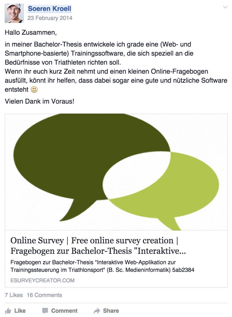 Facebook Post zur Umfrage