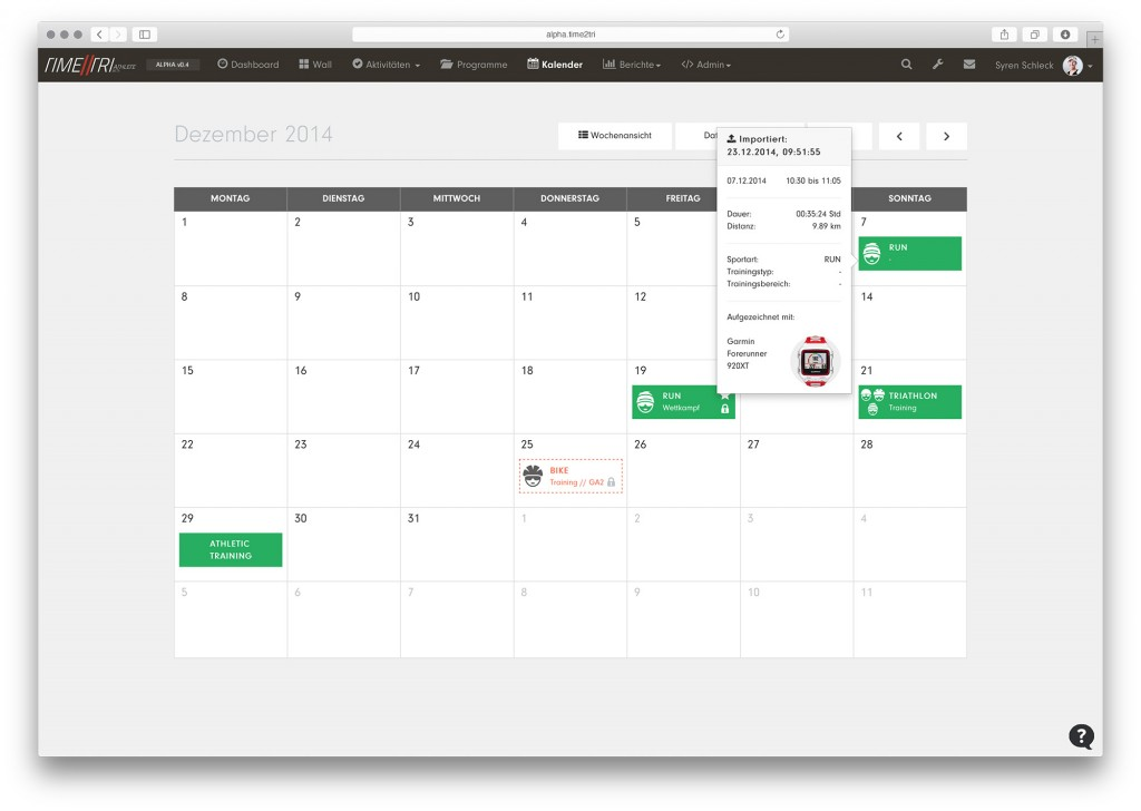 Kalender der Alpha-Version von TIME2TRI Athlete