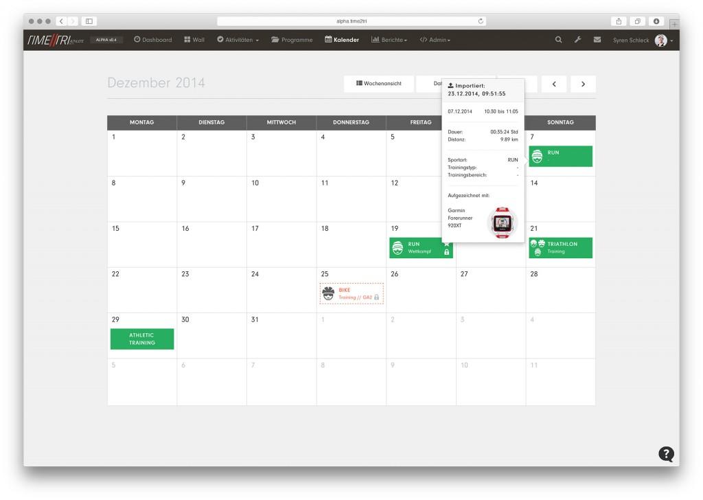 Kalender der Alpha-Version von TIME2TRI Athlete