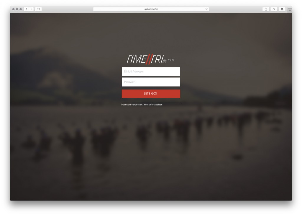 Login der Alpha-Version von TIME2TRI Athlete