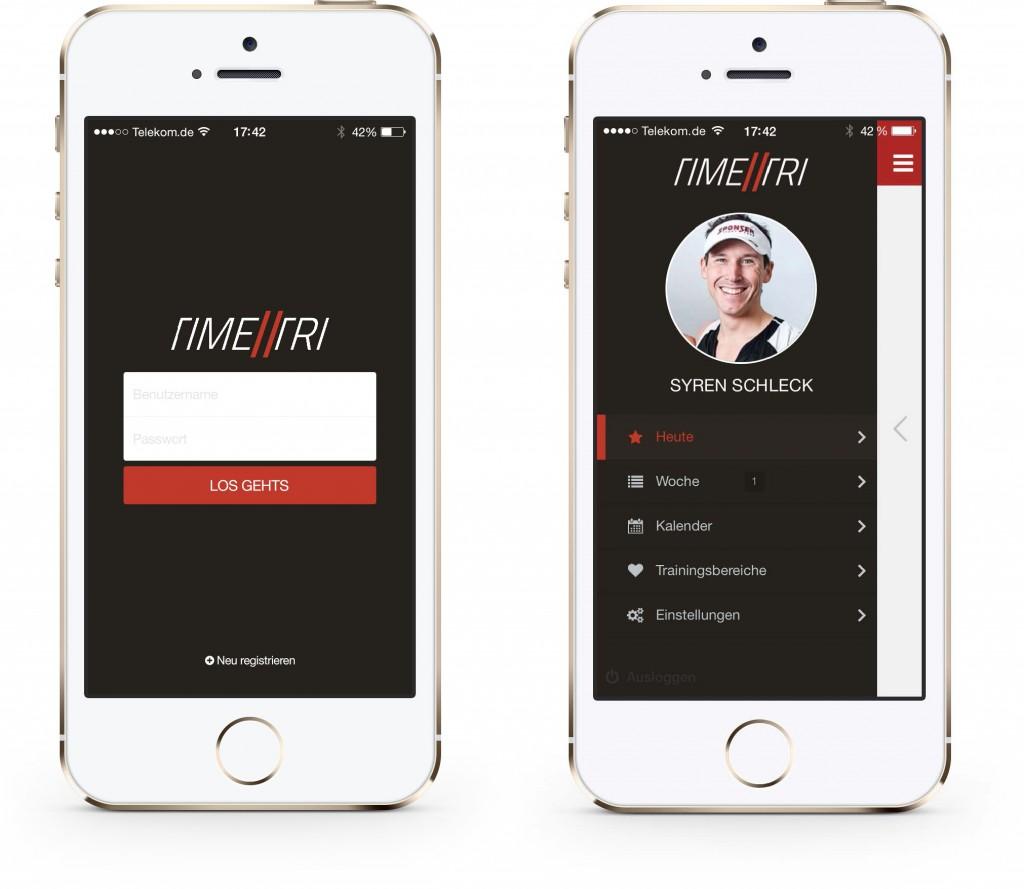Login und Menü der Alpha-Version von TIME2TRI Athlete für iOS