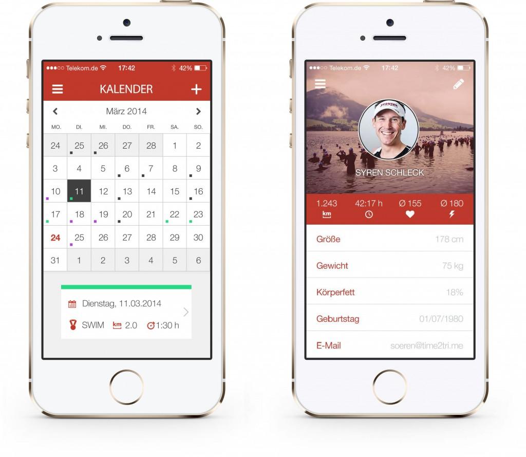 Kalender und Profil der Alpha-Version von TIME2TRI Athlete für iOS