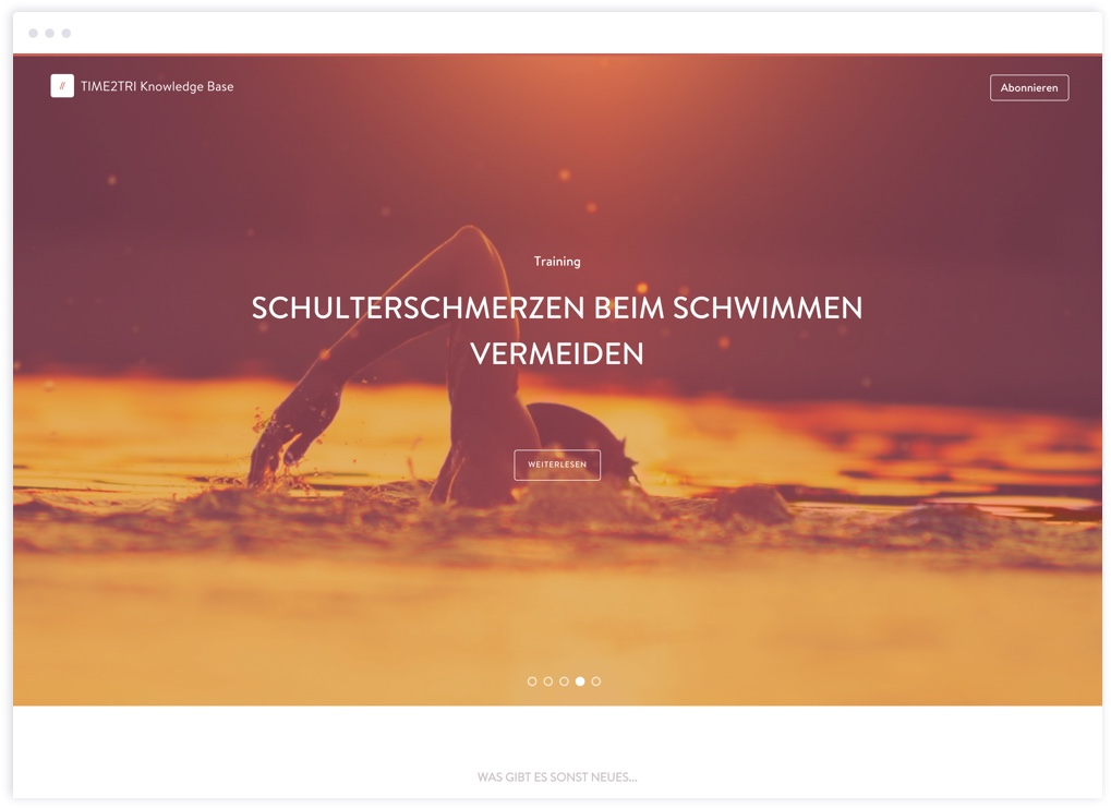 Neue Landing Page der TIME2TRI Knowledge Base