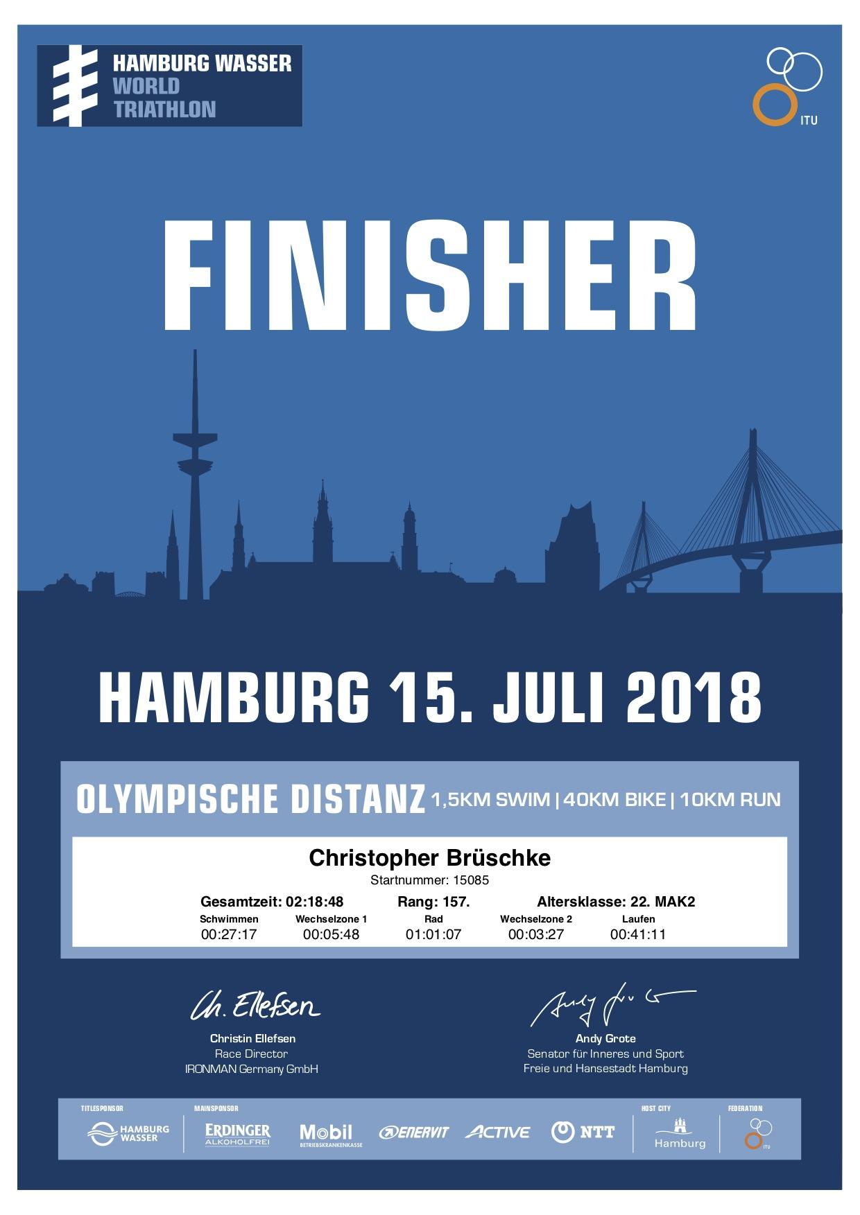 Christophers erste Triathlon-Urkunde vom Hamburg Wasser Triathlon