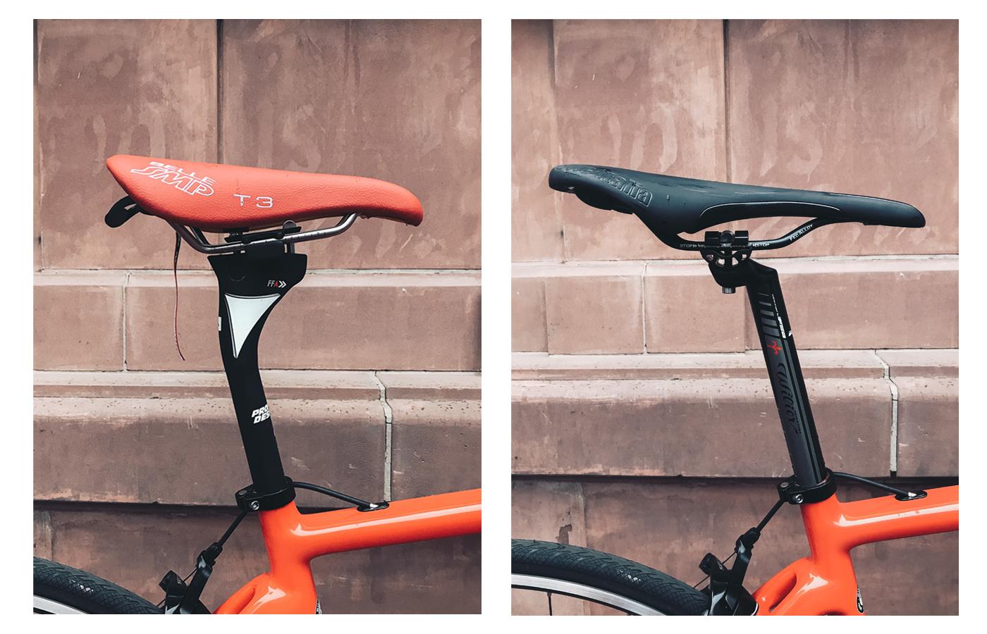 Vergleich der beiden Sattelstützen. Links: Profile Design; Rechts: Original Sattelstütze von Wilier