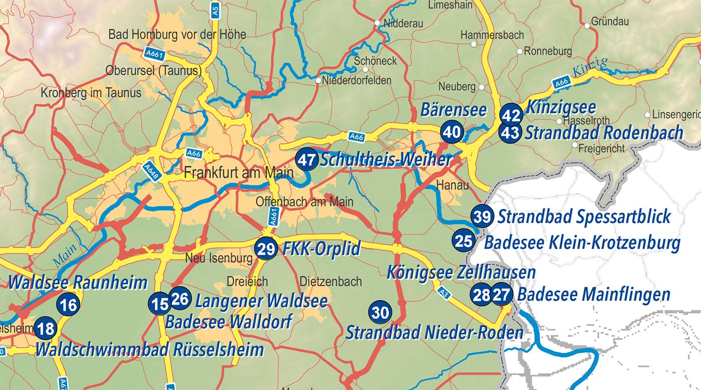 Ausschnitt der Badeseen im Rhein-Main-Gebiet