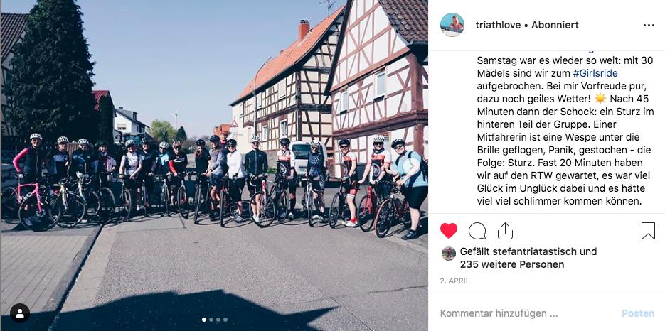 Radsturz bei der Gruppenausfahrt. Quelle: Instagram-Profil triathlove / Ann-Kathrin Ernst
