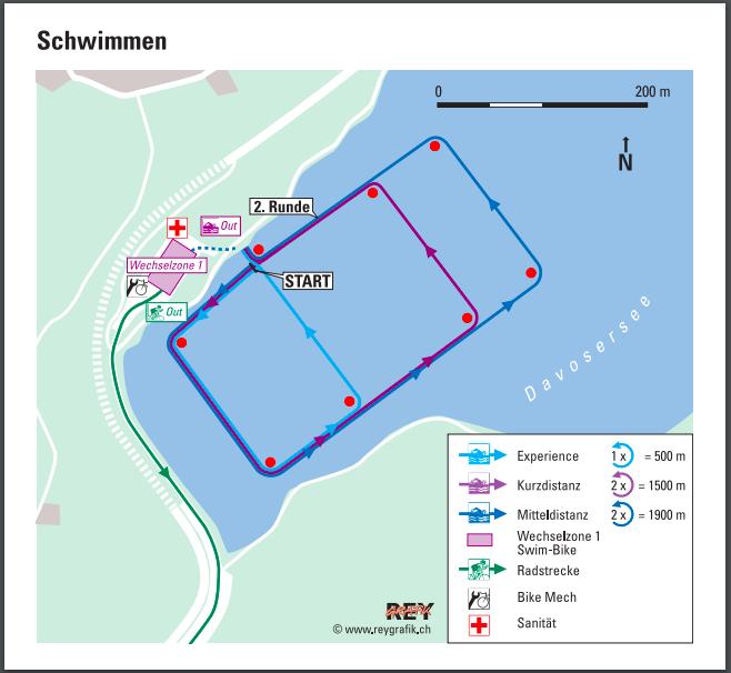 Schwimmstrecke Challenge Davos